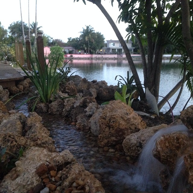 Built  this stream & waterfall  this afternoon. In two hours .... @ a house on a lake in south Miami #bellasaqusticgardens #backyardoasis #bellasponds #oolite #stone #riverrock #ididthat #waterfall #scrapliner #scraplineralwaysgoodforsomething