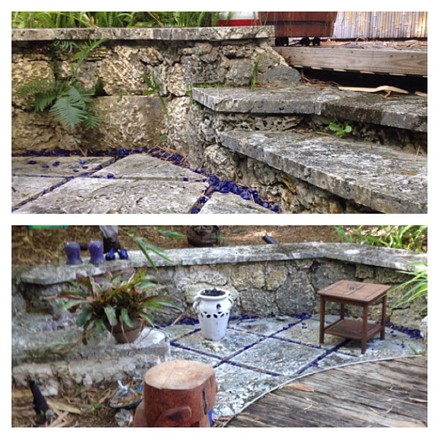 Sunken seating area I carves out with my bear hands in Coral Gables.... #oolite #ooliterock #keystone #limestone #bellasponds #backyardoasis #bellasaquaticgardens